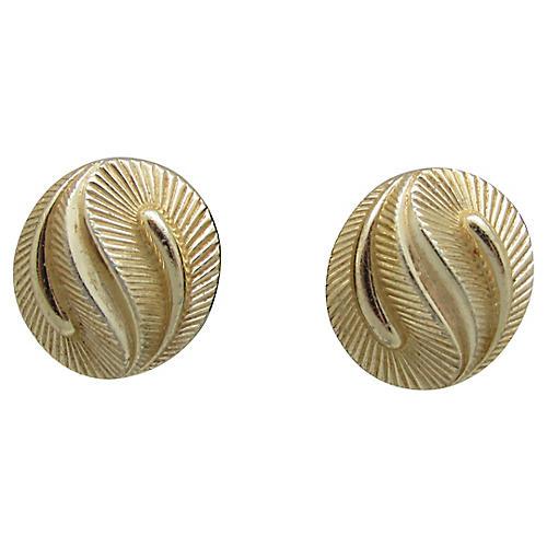 Trifari Ribbed Dual Leaf Earrings