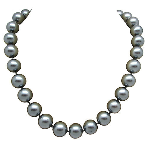 Hand-Knotted Gray Faux-Pearl Necklace
