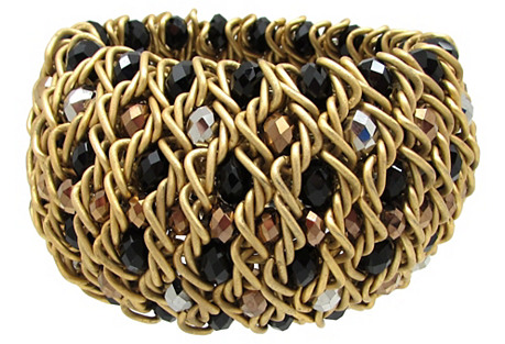 Woven Metal Bracelet w/ Glass Beads
