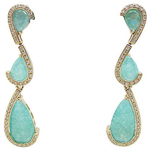 Faux-Emerald Drop Earrings