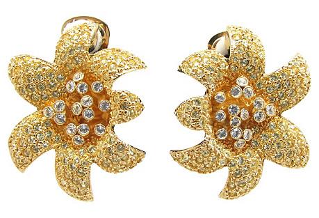 KJL Rhinestone Encrusted Flower Earrings