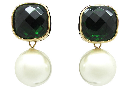 Faceted Faux Emerald & Pearl Earrings