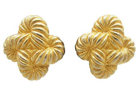 Ribbed Coil Design Gold Metal Earrings