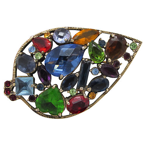 Multicolored Faceted Glass Leaf Brooch