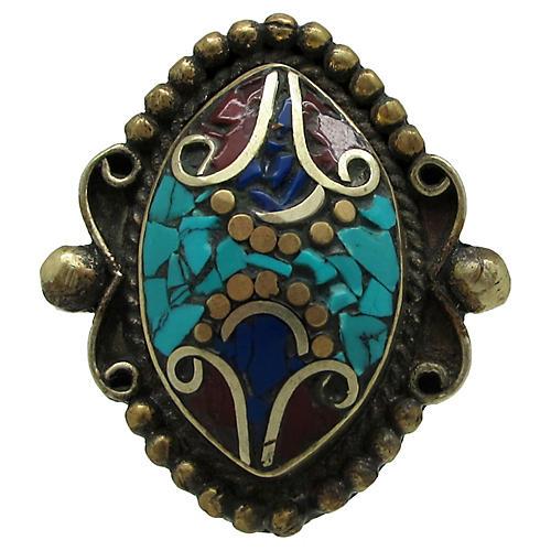 Tibetan Inlaid Mosaic Stone Ring