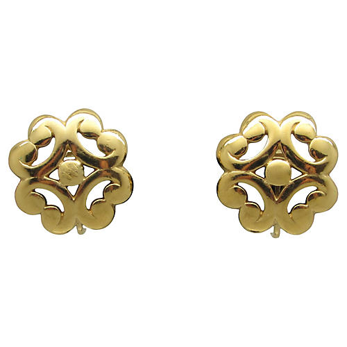Trifari Scrollwork Goldtone Earrings