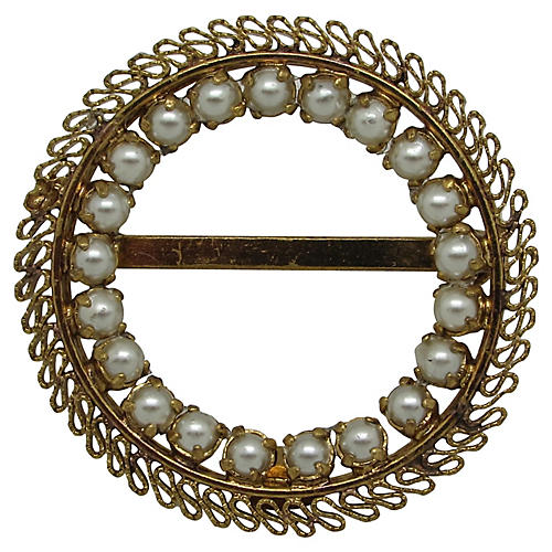 Austrian Filigree Faux-Pearl Brooch