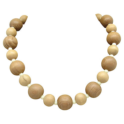 Turned Wood Bead Necklace