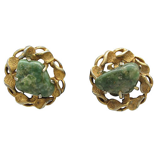 Twisted Goldtone Metal Earrings w/ Stone