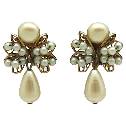 Ornate Faux-Pearl Teardrop Earrings