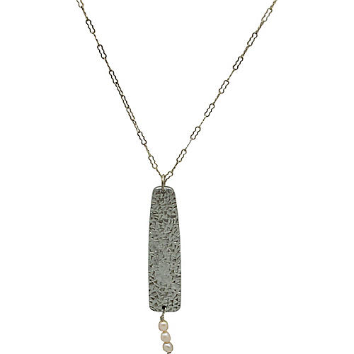 Hammered Metal & Pearl Pendant on Chain