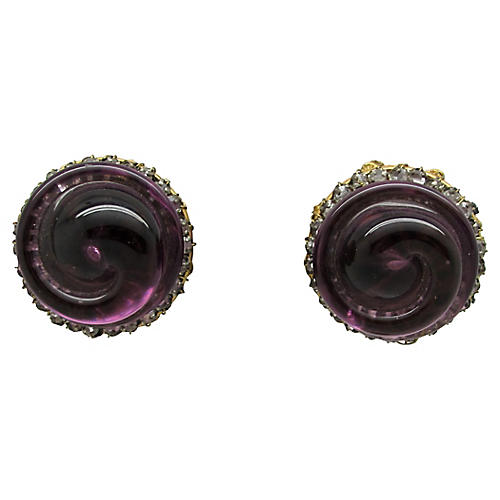 Miriam Haskell Amethyst Glass Earrings