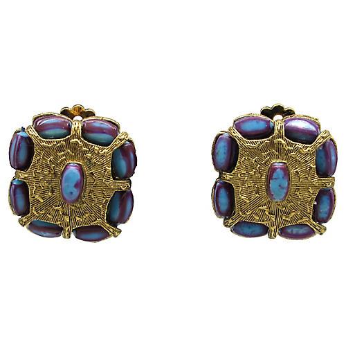 Selini Ornate Faux-Stone Earrings