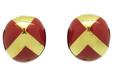 Ciner Criss Cross Enameled Earrings