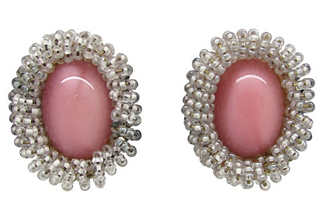 Pink Cabochon & Bead Frame Earrings