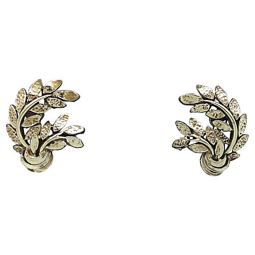 Grecian Double-Leaf Design Earrings