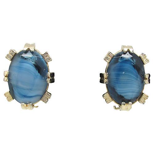 Two-Tone Blue Glass Earrings