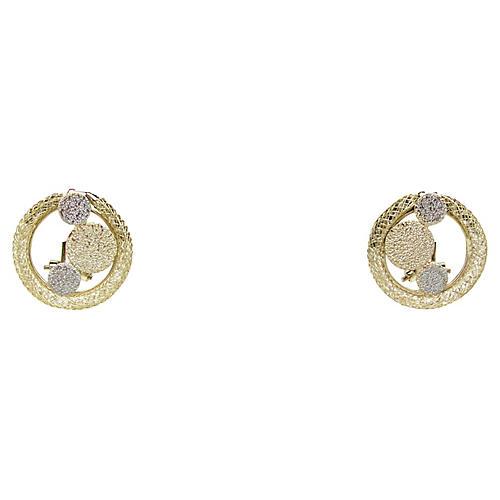 Tri-Tone Metal Bubble Earrings