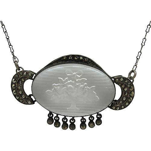 Czech Intaglio w/ Marcasites Necklace