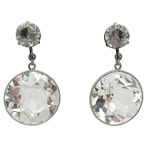 Open-Back Faceted Glass Earrings