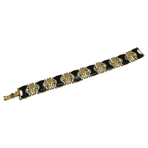 Black Enamel & Goldtone Link Bracelet