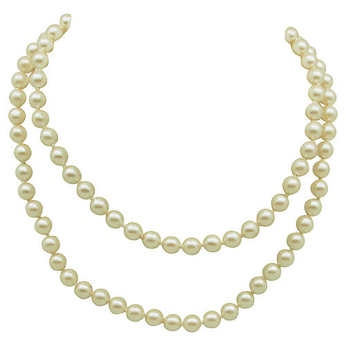 Hand-Knotted Faux-Pearl Necklace