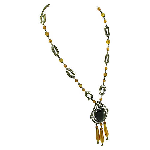 Czech Topaz & Black Glass Necklace