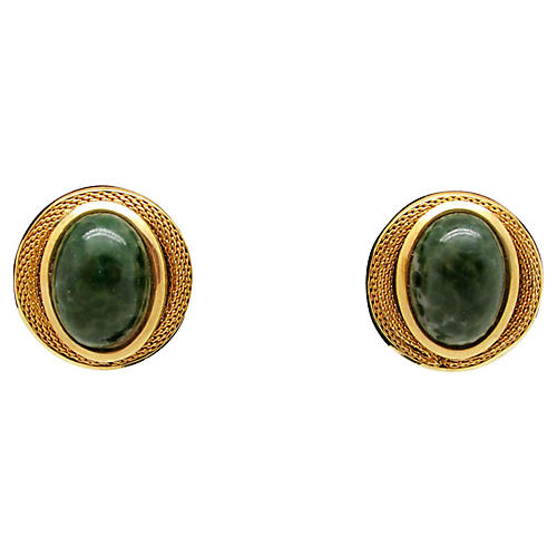 Faux-Jade Cat Eye Earrings