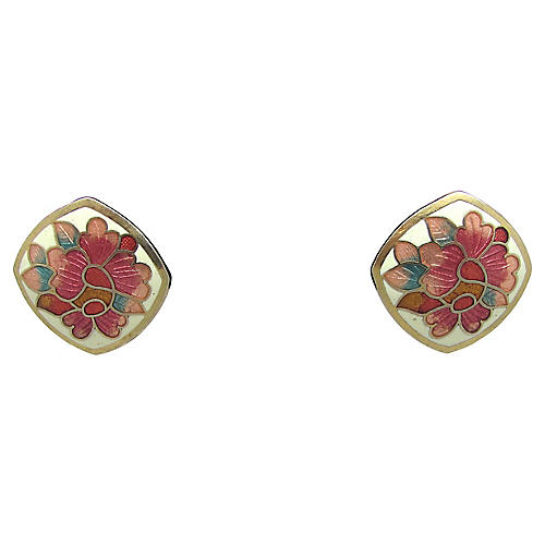 Cloisonné Floral Earrings