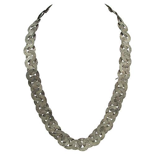 Engraved Interlocking Link Necklace