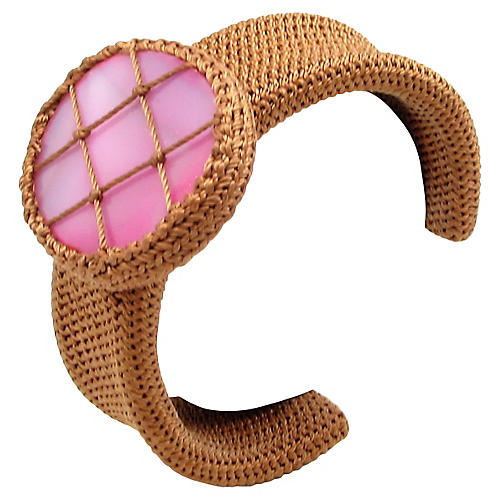 Crocheted Cuff w/ Deep Pink Glass