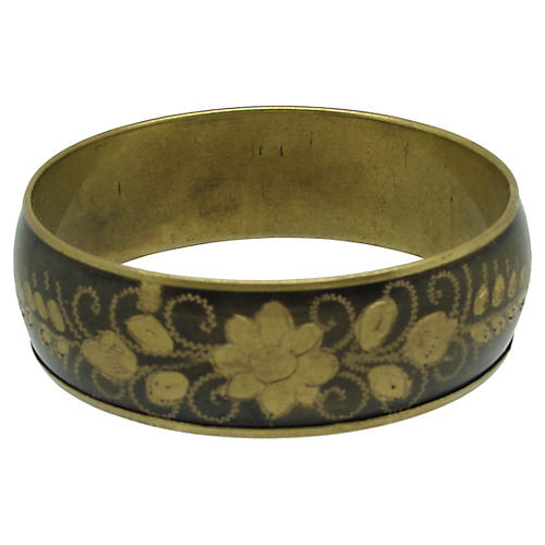 East Indian Engraved Brass Bangle