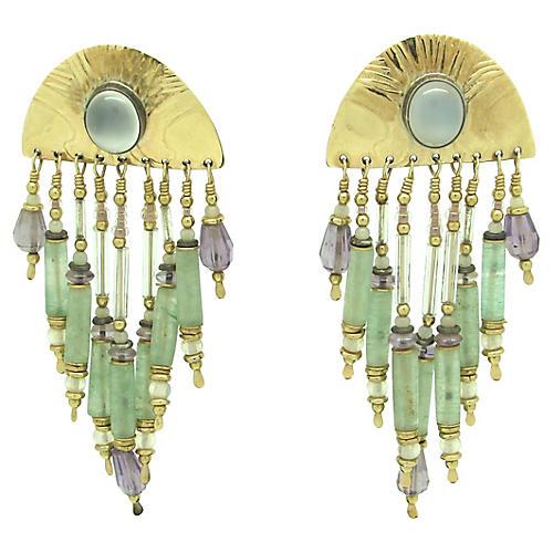 Nephrite, Amethyst & Moonstone Earrings