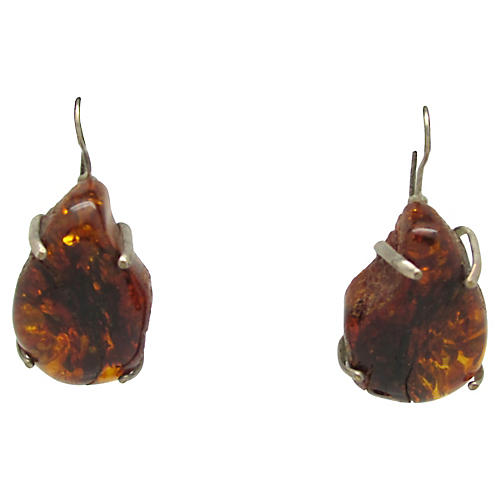 Brutalist Amber Earrings