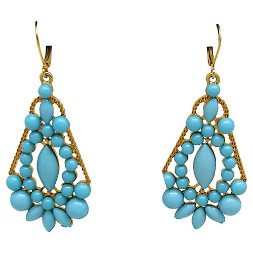 Faux-Turquoise Pendulum Earrings