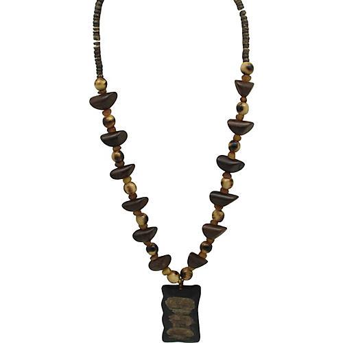 Wood Bead Necklace w/ Pendant