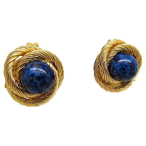 Lapis Knot Earrings