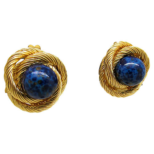 Lapis Knot Earrings