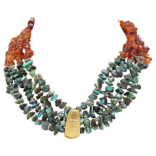 Four-Strand Turquoise & Agate Necklace