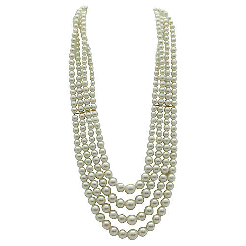 Graduated 4-Strand Faux-Pearl Necklace
