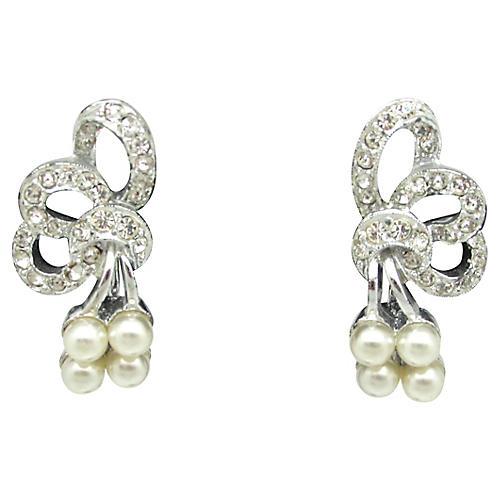 Faux-Pearl & Rhinestone Earrings