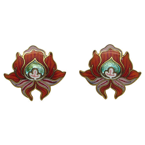 David Kuo Enameled Lily Earrings
