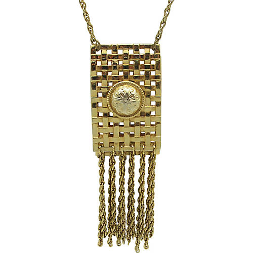 Woven Metal Necklace w/ Metal Fringe
