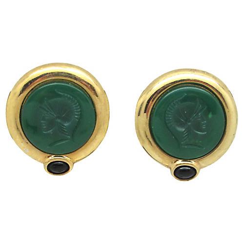 Grecian-Style Glass Intaglio Earrings