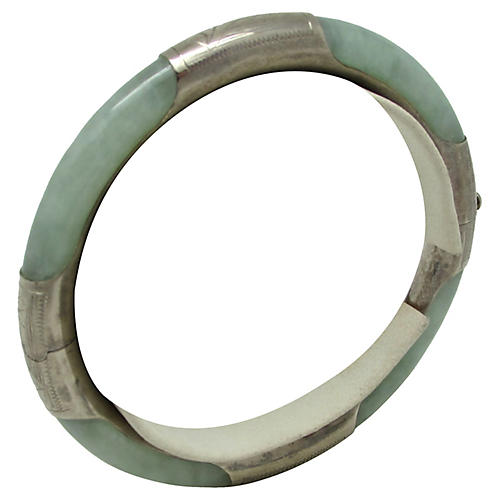 Sterling & Jade Hinged Bangle