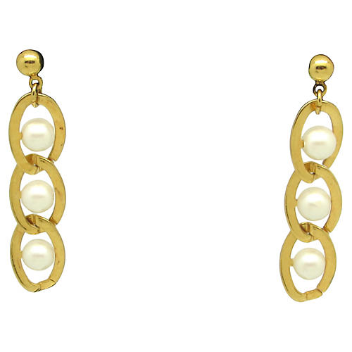 Caged Faux-Pearl Earrings