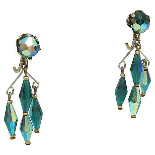 Green Aurora Borealis Crystal Earrings