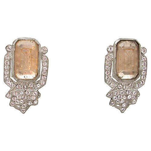 Art Deco Etched Glass Dress Clips, S/2