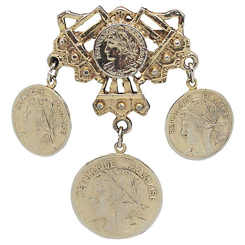 Brooch w/ French Design Coins