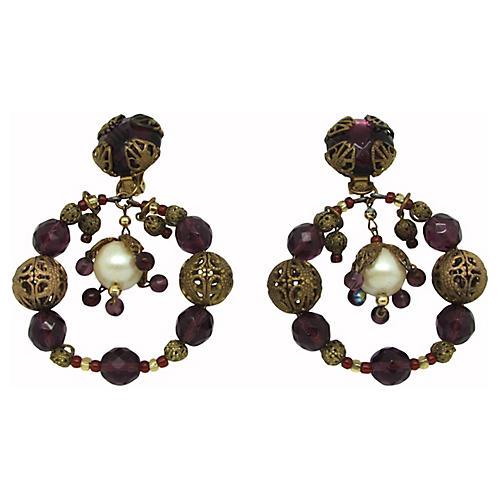 Filigree Glass Pendulum Earrings
